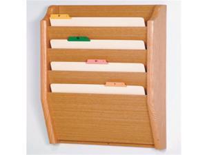 Wooden Mallet Home Office 4 Pocket Legal Size File Holder Wall Display Storage Rack Furniture Light Oak