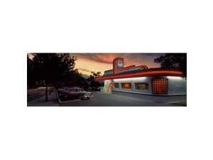 Panoramic Images PPI130046L Cars parked outside a restaurant  Route 66  Albuquerque  New Mexico  USA Poster Print by Panoramic Images - 36 x 12