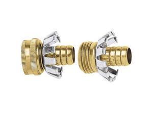 Fiskars 581023 0.5 in. Green Thumb Male & Female Clincher Hose Repair Set, Brass