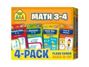 (2 Pk) Math 3-4 Flash Cards 4 Per Pk