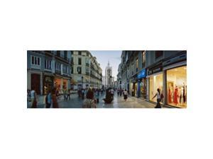 Panoramic Images PPI106319L Group of people walking on a street  Larios Street  Malaga  Malaga Province  Andalusia  Spain Poster Print by Panoramic Images - 36 x 12