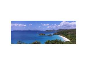 Panoramic Images PPI112915L Trees on the coast  Trunk Bay  Virgin Islands National Park  St. John  US Virgin Islands Poster Print by Panoramic Images - 36 x 12