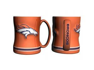Denver Broncos Coffee Mug - 14oz Sculpted Relief - Orange