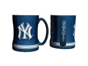 New York Yankees Coffee Mug - 14oz Sculpted Relief - Blue