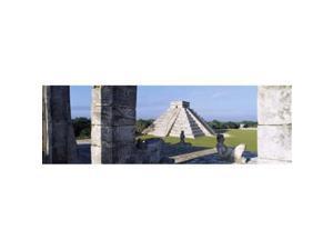 Panoramic Images PPI55906S Pyramid in A Field El Castillo Chichen Itza Yucatan Mexico Poster Print, 18 x 6