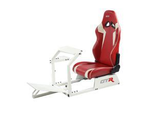 GTR Racing Simulator GTA-WHT-S105LRDWHT GTA Model Racing Simulator White Frame with Red/White Real Racing Seat, Driving Simulator Cockpit Gaming Chair with Gear Shifter Mount