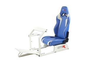 GTR Racing Simulator GTA-WHT-S105LBLWHT GTA Model White Frame with Blue/White Real Racing Seat, Driving Simulator Cockpit Gaming Chair with Gear Shifter Mount