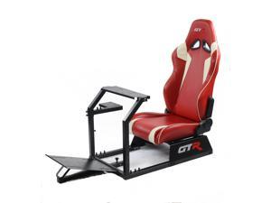 GTR Racing Simulator GTA-BLK-S105LRDWHT- GTA Model Black Frame with Red/White Real Racing Seat, Driving Simulator Cockpit Gaming Chair with Gear Shifter Mount