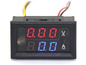 0.28''LED DC0-100V 10A Digital voltmeter Ammeter 2in1 Multimeter Led Volt Amp Gauge Panel with Red/Blue Dual Color Display and Build-in Shunt for Car Auto Boat Battery Monitoring (Red and Blue)