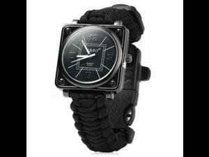 5 in 1 Multifunctional Outdoor Adjustable Watch,Survival Bracelet with Watch Compass Flint Fire Starter Scraper Whistle Gear Kits (Black)