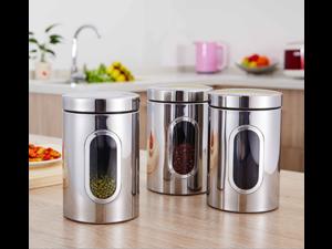 3pcs Stainless Steel Silver Tea Coffee Sugar Kitchen Tools Mirror Liter Food Storage Box Container