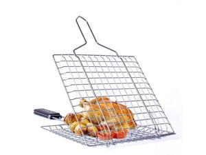 Square Barbecue Grill Fish Sheep Chicken Barbecue Net Clip Folder Stainless Steel Bbq Grilling Basket   Portable Barbecue Grill Grid Basket Net  For Fish Vegetables Meats Shrimp