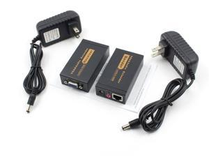 VGA Network Extender Sender + Receiver,VGA Video Extender Transmitter Receiver with Audio up to 100M RJ45 for PC 60 Meter