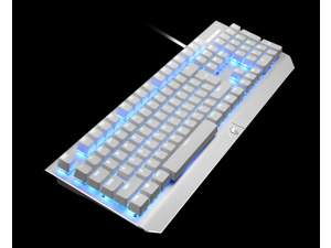 LANGTU G200 Gaming Keyboard Metal Mechanical Keyboard104 Key RGB LED Backlit Mechanical Computer Keyboard-Green axis Design white Sandblasted aluminum alloy panel( Blue Backlit)