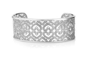 5147d525e42 U7 Hollow Chunky Bangle Bracelet Heart Pattern Platinum/Yellow Gold Plated  Cubic Zirconia Inlaid Cuff