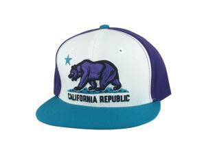 a86d6a311df California Republic Snapback Hat Cap - White Purple Aqua 2tone