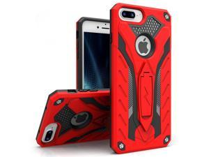 Zizo STATIC Series compatible with iPhone 8 Plus case Heavy Duty Shockproof Military Grade Drop Tested with Kickstand iPhone 7 Plus case RED