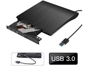 DATARAM External CD Drive, USB 3.0 Portable CD DVD +/-RW Drive Slim DVD/CD ROM Rewrite Burner Writer with High Speed Data Transfer for Laptop/Mac Book/Desktop/Ma Cos/Windows/8/7 (Black)