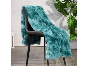 """Lvylov Decorative Soft Fluffy Faux Fur Throw Blanket 50"""" x 60"""",Reversible Long Shaggy Cozy Furry Blanket,Comfy Microfiber Accent Plush Fuzzy Blanket for Sofa/Couch/Bed,Breathable & Washable,Teal Blue"""