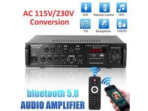 2000W Bluetooth5.0 Audio Amplifier EQ Stereo Home Theater AMP Car Home 5CH AUX USB FM SD - US Plug