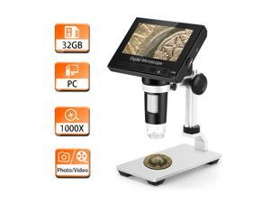 """TOMLOV 4.3"""" LCD Digital Microscope with 32GB SD Card, 50X-1000X Magnification Coin Microscope with Metal Stand, 8 LED Lights, Video Recorder for Observing Coin/Stamps/Plants/PCB, Supports Windows"""