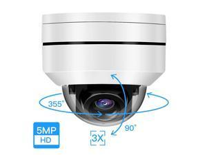 Mini 5MP PTZ HD IP Camera Outdoor POE Security Dome Camera 3X Optical Zoom 3.5-10.5mm Pan 355° /Tilt 90° Onvif Network IR Night Vision IP66 Waterproof