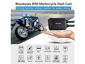 Blueskysea B1M Motorcycle Drive Recorder Safe Driving 135°Wide Angle IP67 Waterproof Front and Rear 2 Channels Motor Dash Cam 1920×1080P GPS Optional Support Max 128GB G-Sensor WDR Loop Recording WIFI