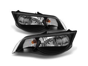 For 2003 2004 2005 2006 2007 Saturn ION Black Left + Right Side Headlights Front Lamps Assembly Set Pair