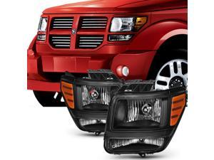 For 2007 2008 2009 2010 2011 Dodge Nitro Black Headlights Headlamps Left & Right Side Pair Set Assembly