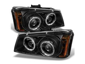 For Chevy Silverado Avalanche Pickup Truck Black Dual Halo Ring LED Projector Replacement Headlights