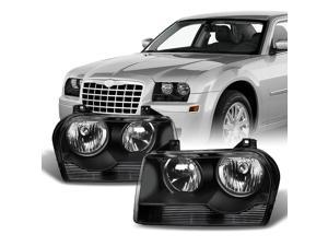 For Chrysler 300 OE Replacement Black Halogen Type Headlights Driver/Passenger Head Lamps Pair New