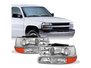 For 00-06 Chevy Suburban | 99-02 Silverado | Tahoe Clear Headlights With Corner Bumper Lights Replacement Pair Set