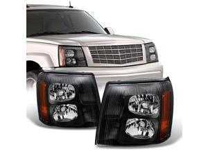 For Cadillac Escalade Black Bezel HID Xenon Type Headlights Front Lamps Replacement Left + Right Pair