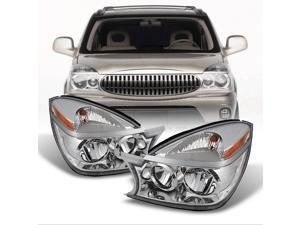 For Buick Rendezvous OE Replacement Amber Chrome Headlights Driver/Passenger Head Lamps Pair New