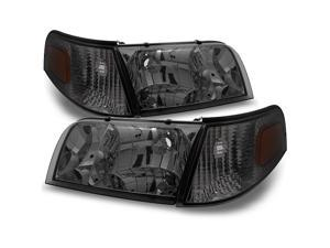 For Ford Crown Victoria Smoke Replacement Headlights W/ Corner Lamps 4pc Left + Right Pair Set