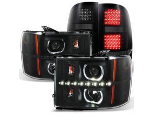 For 2007-2013 GAZE GMC Sierra Black Halo Projector Head Lights Pair + Black Smoked LED Tail Lights Set
