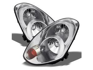 For Infiniti G35 4 Door Sedan Chrome Replacement Headlights Driver/ Passenger Head Lamps Pair New