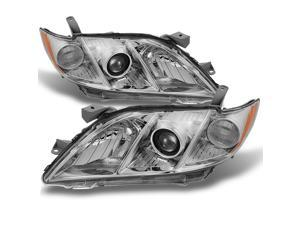 For Toyota Camry Chrome Clear Projector Headlights Front Lamps Replacement Left + Right Pair Set