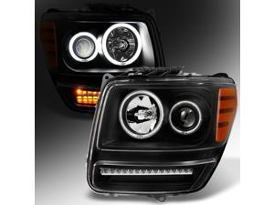 For 2007 2008 2009 2010 2011 Dodge Nitro Dual CCFL Halo Black Projector Full LED Turn Signal Headlights