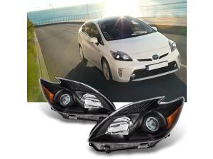 For 2010 2011 Toyota Prius Halogen Style Clear LH & RH Side Black Projector Headlights Head Lamps Pair