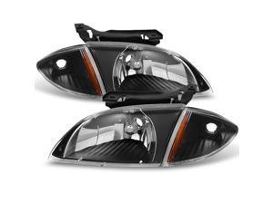 For 2000 2001 2002 Chevy Cavalier Coupe & Sedan Replacement Black Headlights w/ Corner Lights Pair Set