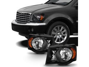 For 2007 2008 2009 Chrysler Aspen Matte Black Headlights Headlamps LH Left & RH Right Side Pair Assembly