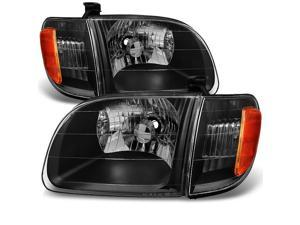 For [Black] 2000 2001 2002 2003 2004 Toyota Tundra Regular | Access Cab Headlights w/Corner Lights Pair