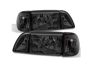 For Mustang Smoked Headlights Headlamps w/ Corner & Parking Lights  6Pcs Complete Replacement Pair Set