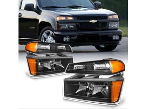 For Chevy Colorado / Canyon Black Headlights + Parking Lights Replacement Driver + Passenger Side Pair