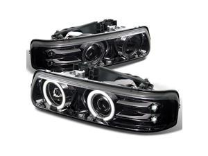 For Chevy Silverado Suburban Tahoe Smoke Smoked Dual Halo Ring Projector Headlights Pair Replacement