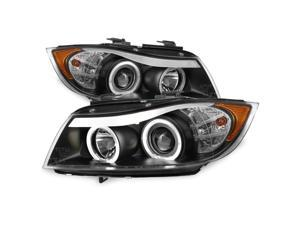 For BMW E90 3-Series 4 Doors Sedan Black Bezel Halogen Type Halo Ring LED Eye Lid Projector Headlights