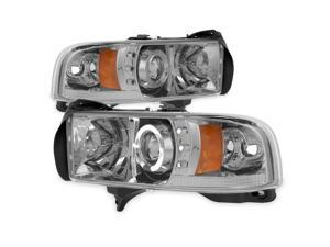 For Dodge Ram 1500/2500/3500 Pickup Smoke Dual Halo Ring LED Projector Replacement Headlights Left/Right