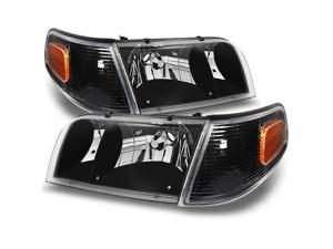 For Ford Crown Victoria Black Replacement Headlights W/ Corner Lamps 4pc Left + Right Pair Set