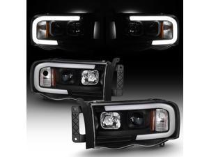 For 2002-2005 Dodge Ram 1500 03-05 2500 3500 Black LED Tube Projector Headlights Pair Left+Right Side